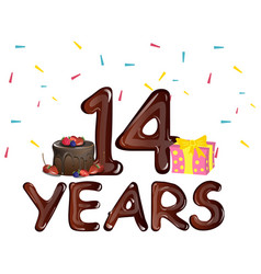 14 years anniversary celebration with cake vector image