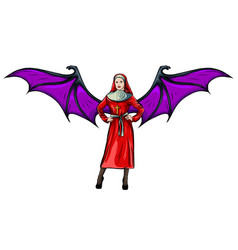 a sexy nun with wing vector image