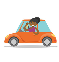 african-american woman showing key to her new car vector image