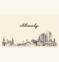 almaty skyline kazakhstan hand drawn sketch vector image
