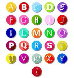 Alphabet on multicolor circles -flat vector image