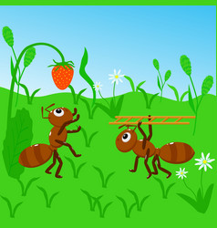 ants collect strawberries vector image