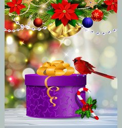 background with christmas ball vector image