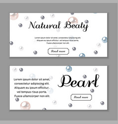 Banner set design template with pearl background vector