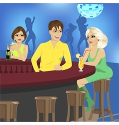 bartender talks to blonde sitting at bar counter vector image