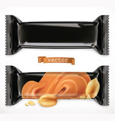 black polymer packaging for foods chocolate bar vector image