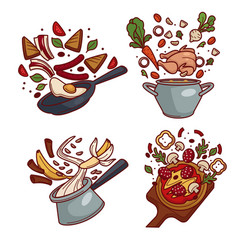 breakfast lunch and dinner cooking dishes vector image