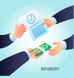 Bribery concept background isometric style vector
