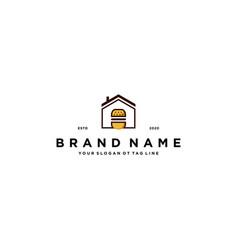 Burger home logo design vector