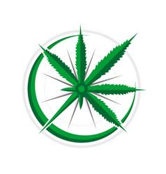 Cannabis compass 3d navigational adventure symbol vector