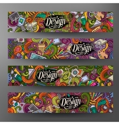 Cartoon doodles artistic banners vector