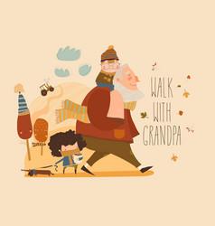 Cartoon happy grandfather walking with his vector