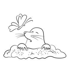 cartoon mole and butterfly vector image