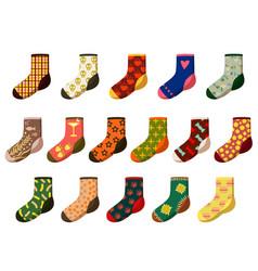 cartoon socks set isolated on white background vector image