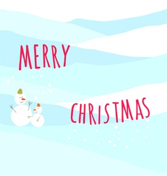 Christmas greeting card with snow man vector