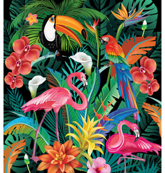 Composition of tropical flowers and birds vector