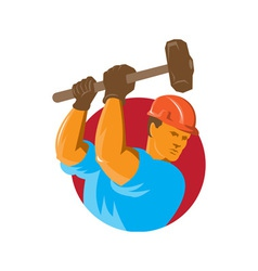 construction worker with sledgehammer vector image