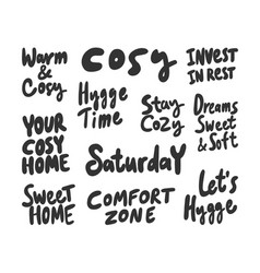 Cosy warm hygge time home comfort zone vector