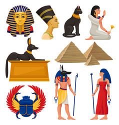 Cultural elements of ancient egypt pharaoh and vector