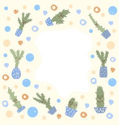 cute cactus comositon design set vector image