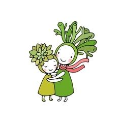 Cute cartoon succulents vector