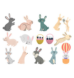 cute rabbits clipart set funny bunny graphic vector image