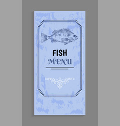 Elegant design fish menu with twirl and frame vector