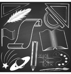 Elements made by hand with chalk on blackboard vector