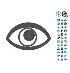 Eye flat icon with free bonus elements vector
