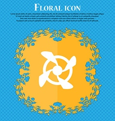 Fan Icon sign Floral flat design on a blue vector