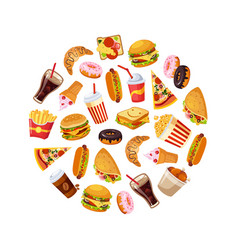 fast food dishes in circular shape croissant vector image