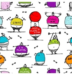 Fat people doing sports seamless pattern vector image
