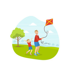 Father and his son playing kite smiling dad vector