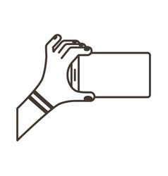 Female hand lifting smartphone horizontally line vector