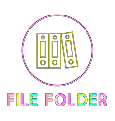 file folder bright round linear icon template vector image