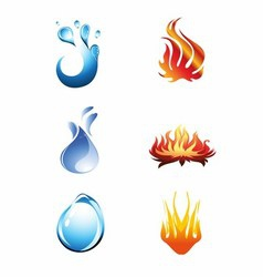 Fire and Water Icon vector image