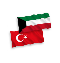 Flags turkey and kuwait on a white background vector