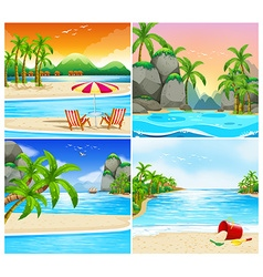 Four scene of beach and island vector