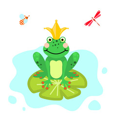 Frog prince cartoon green clip-art isolated vector