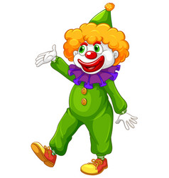 Funny clown in green costume vector