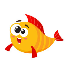 Funny golden yellow fish character with smiling vector