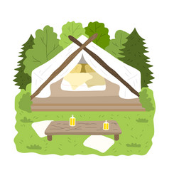 Glamping house for stay with bedroom inside vector