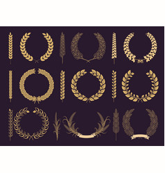 Golden laurel wreaths and branches collection vector