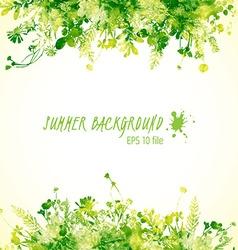Green watercolor leaves vector