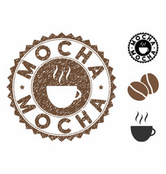 Grunge textured mocha stamp seal with coffee cup vector