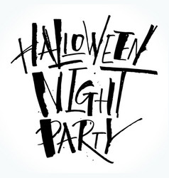 Halloween night party lettering vector