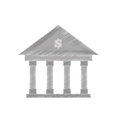 Hand draw building bank money finance color vector