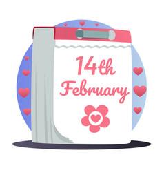 hand drawn cartoon tear-off calendar february 14th vector image