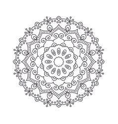 hand drawn flower mandala for coloring book vector image