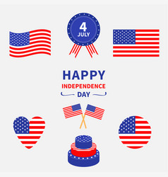 happy independence day icon set united states vector image